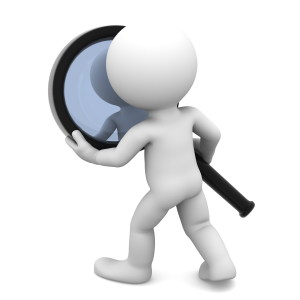 3D Character with Magnifying Glass