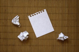 Blank and crumpled paper