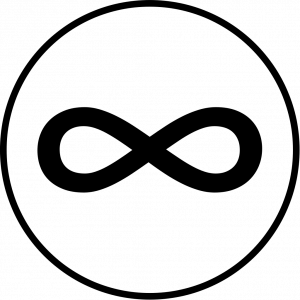 Infinity sign within circle
