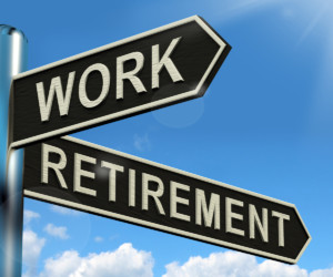 Work Or Retire Signpost Showing Choice Of Working Or Retirement