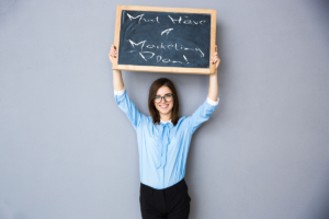 Woman Holding Chalkboard Marketing Sign