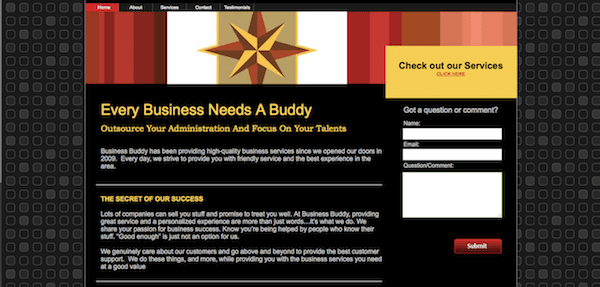 Business Buddy Website Before
