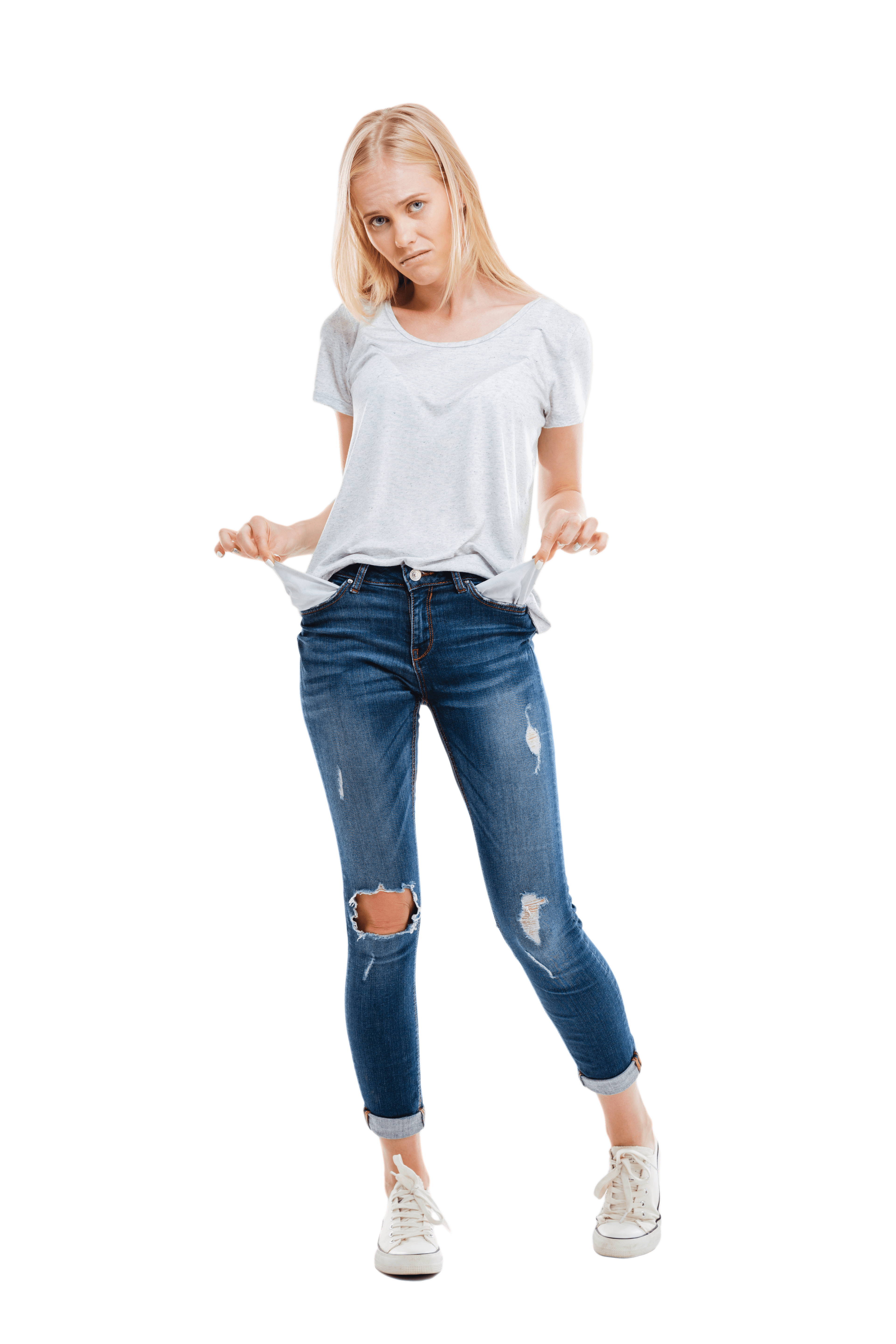 Depressed Young Woman with Empty Pockets