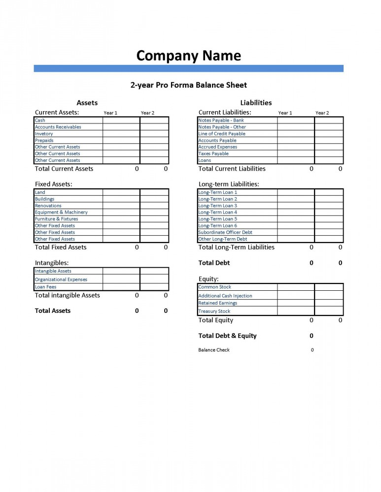 Pro Forma Balance Sheet Template  Dumbing It Down