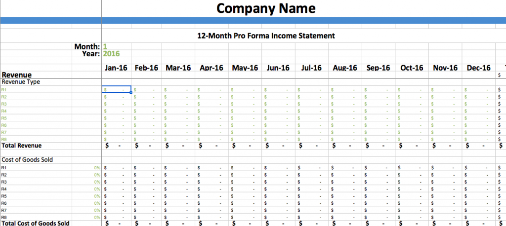 Pro Forma Income Statement Template Dumbing It Down Backbone America