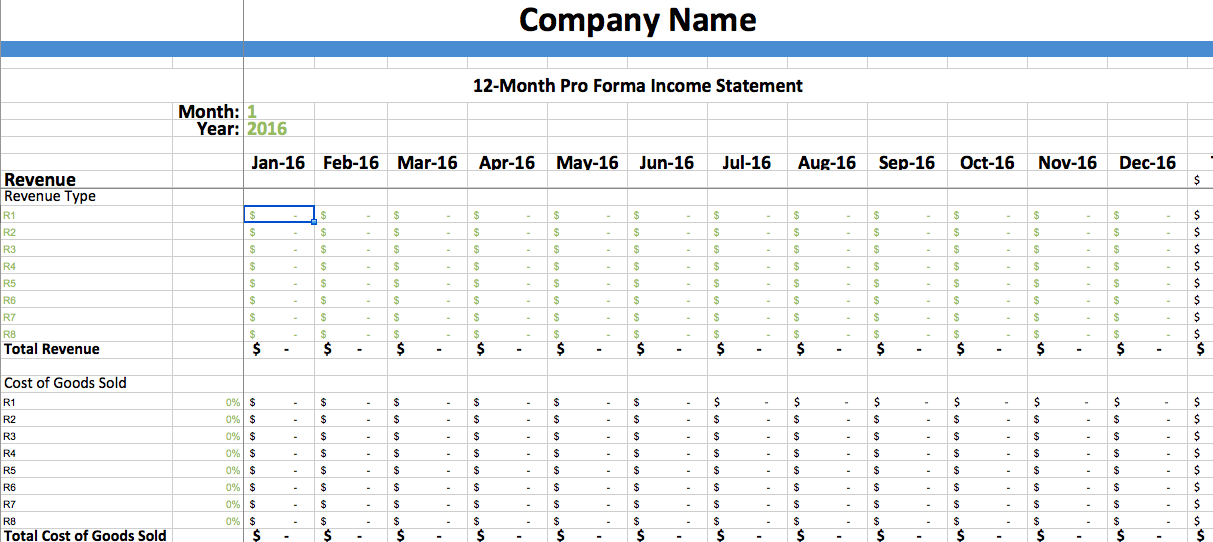 Pro Forma Income Statement Template Dumbing It Down
