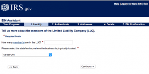 IRS online EIN application