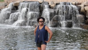 Renee in front of waterfall